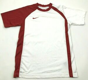 NIKE Dry Fit Shirt Youth Size Medium M White Red Dri FIT Short Sleeve Tee Swoosh $15.02