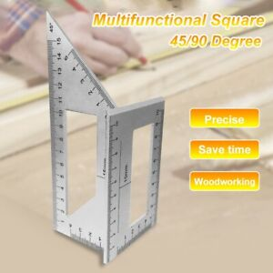 Durable Square 45 90 Degree Gauge Angle Ruler Measuring Woodworking Tool $9.67