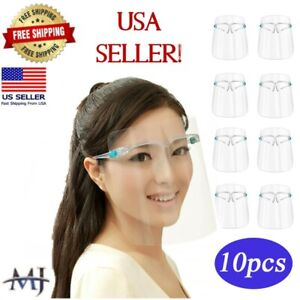 10 PACK Face Shield Guard Mask Safety Protection With Glasses Reusable Anti Fog $6.49