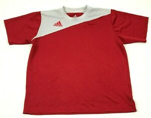 Adidas Dry Fit Shirt Youth Size Large L White Red Short Sleeve Color Block Tee $15.02