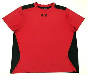 Under Armour Dry Fit Shirt Youth Size Extra Large YXL Loose Red Black HeatGear $11.82