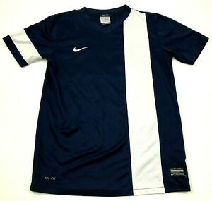 NIKE Dry Fit Shirt Youth Size Large YL Boys Blue White Dri FIT Short Sleeve Tee $11.82