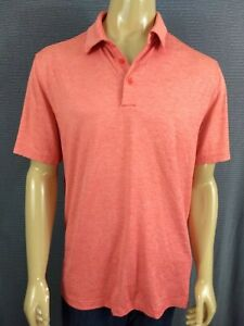 UNDER ARMOUR GOLF POLO SHIRT SS Men L Orange Loose UA Athletic Polyester Stretch $17.99