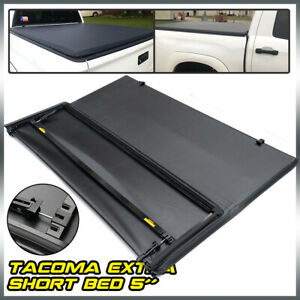Tri Fold Tonneau Cover 5Ft Short Bed Black Fit For 2016 2021 Toyota Tacoma Lock $157.94