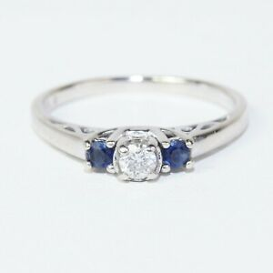14K 3 stone Diamond Sapphire Engagement Ring Size 8 Fine Jewelry Bridal Wedding