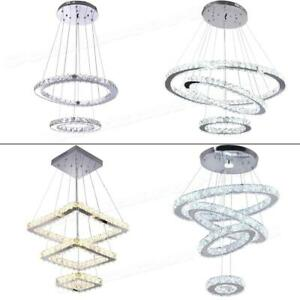 Modern Chandelier LED Crystal Pendant Lamp Round Ceiling Light Hanging Fixtures $91.64