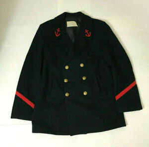 Vintage French Military Peacoat Heavy Wool Naval Uniform MEDIUM Red Patches $70.00