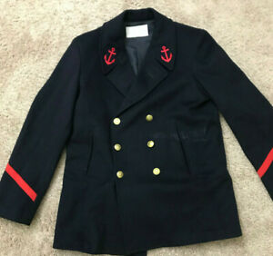 Vintage French Military Peacoat Heavy Wool Naval Uniform MEDIUM Red Patches $75.00
