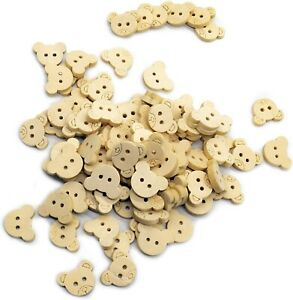 Wooden Teddy Bear Sewing Wood Buttons for Cards Craft Scrapbook Embellishments GBP 3.95