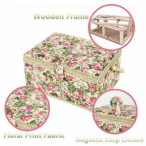 SAXTX Large Sewing Basket with 99Pcs Sewing Kit Accessories Wooden Sewing Box Or $77.37