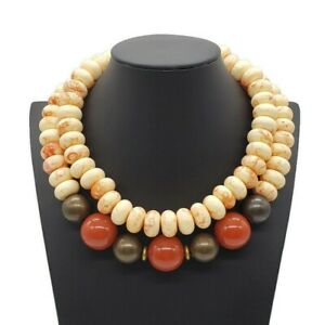 Les Bernard Signed Vintage Couture Asian Inspired Necklace Chunky Statement Bead $68.00