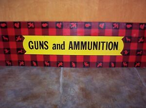 VINTAGE WINCHESTER Hunting PLAID GUNS AMMUNITION 47quot; METAL SIGN Olin Mathieson