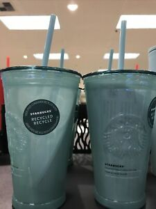 New 2021 Starbucks Green Frosted Recycled Glass Cold To Go Cup Tumbler $36.99