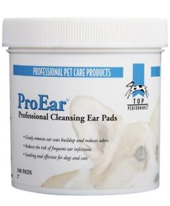 NEW Top Performance ProEar EAR CLEANSING 100 PADS DOG Wipes Wax Odor Cleaning $16.50