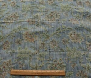 Vintage French C1950 1960 Silk amp; Cotton Blue Tapestry Fabric Sample 35quot;X43quot;