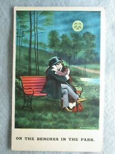 Antique On The Benches In The Park Romantic Couple Postcard 1911 $3.90