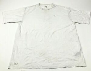 Nike Dry Fit Shirt Mens Size Large L Adult White Tee Short Sleeve Dri FIT Swoosh $15.02