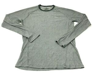 Patagonia Dry Fit Shirt Mens Size Medium M Fitted Adult Gray Long Sleeve Tee $19.35
