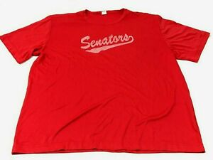 Senators Dry Fit Shirt Size 2XL XXL Adult Red Gray Short Sleeve Tee Adult Mens $18.77