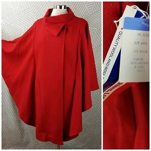 New Vintage size Small Medium Large XL Wool Cape Cloak Winter Red Button NOS