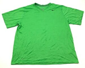 Nike Dry Fit Shirt Mens Size Extra Large Lime Green Short Sleeve Top Swoosh Tee $18.77