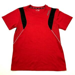 And1 Dry Fit Shirt Youth Size Large YL Red Black Short Sleeve Kids Basketball T $16.89