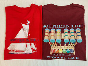 New Lot of 2 Southern Tide Mens Long Sleeve quot;Sail Gamequot; T Shirts S $29.99