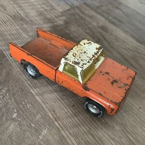 Vintage Metal Toy Truck Well Loved Orange White