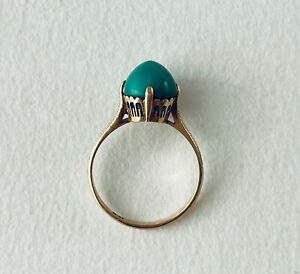 18K gold vintage ring with turquoise size 6 $250.00