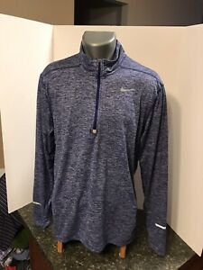Nike Running Men's Dri Fit LS Half Zip Shirt L Blue Washed Polyester Spandex $19.00