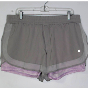 Avia Compression Core Running Athletic Shorts Gray Purple Heather Under XL 16 18 $19.97