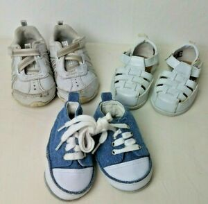 3 Pairs Baby Shoes Sz 2 4 Sneakers Sandals Running Shoes White Blue Summer $11.62