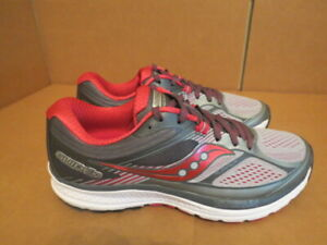 WOMENS SAUCONY EVERUN GUIDE 10 GRAY BURGUNDY WHITE RUNNING SHOES SIZE 9M A307 $29.99