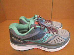 WOMENS SAUCONY EVERUN GUIDE 10 GRAY TEAL WHITE RUNNING SHOES SIZE 6.5M A304 $29.99