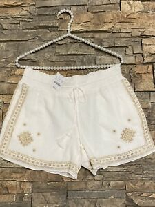 Womens J. Crew Embroidered Gold White Shorts Sz 2 NWT Pockets $25.00
