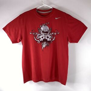Nike Dri Fit Cotton Tee Adult Size Large Red Football Skulls Athletic T Shirt $19.96