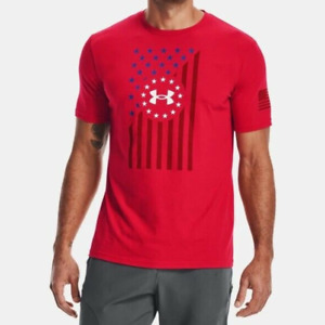 Under Armour Mens Freedom Flag Front Short Sleeve T Shirt . Red. Style:136505 $19.95