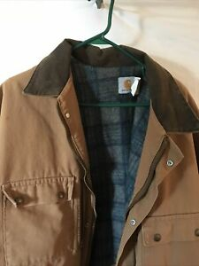 Vintage Carhartt Jacket Brown Barn Chore Coat Blanket Lined 3XL Made In USA