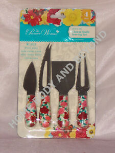 THE PIONEER WOMAN 4 Piece Cheerful Rose Cheese Knife Serving Set