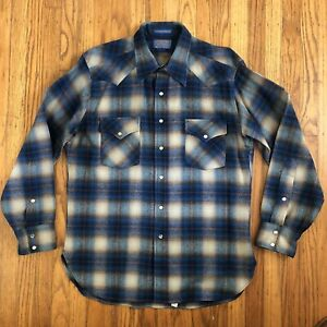 Pendleton High Grade Western Wear Blue Brown Flannel Pearl Snap USA Wool Shirt L