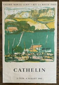 Cathelin Exhibition Poster Galerie Maeght Paris 1961 Bernard Lithograph Print $95.00