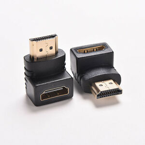 2Pcs Right Angle hdmi Cable Adapter Male to Female Connector 270 HDTV 90 Degree $2.32