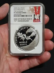 🔥 NGC PF70 2020 P End of World War 2 II 75th Anniversary 1oz Silver Medal Eagle $285.00