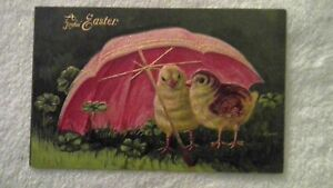 Antique quot;A Joyful Easterquot; with two chicks under large pink umbrellagreen clover $4.90