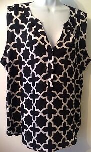 Hanna and Gracie Sleeveless Shirt Top Blouse Black Button Down Womens Small NWT $11.99