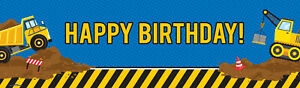 Construction Party Decorations Vinyl Birthday Banner 18 Inchesx61 Inches