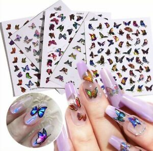🦋 Butterfly Nail Stickers Waterproof Nail Art Design DIY Decal Pink 🦋 Flower $3.50