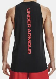Under Armour Mens UA Baseline Cotton Tank. Black Red $18.50
