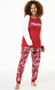 Family PJs Merry Snowflakes Matching Pajamas women's Large NEW $14.75