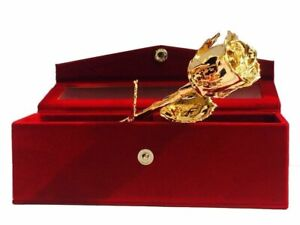 24k Gold Plated Natural Rose with Exclusive Red Gift Box BirthdayWomenGirls